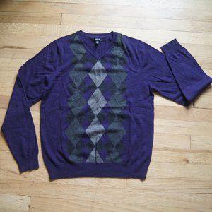 Apt. 9 Men's Purple Argyle Wool Blend Sweater S